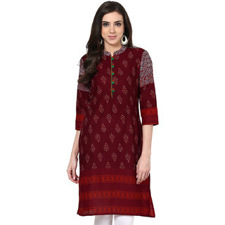Prakhya Printed Womens Long Straight cotton kurta-SW663RED