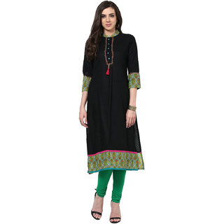Prakhya Solid Womens Long Straight cotton kurta-SW662BLACKGREEN