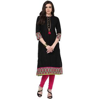 Prakhya Solid Womens Long Straight cotton kurta-SW662BLACKPINK
