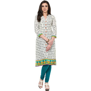 Prakhya Printed Womens Long Straight cotton kurta-SW660BLACKGREEN