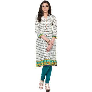 Prakhya Printed Womens Long Straight cotton kurta-SW660GREENBLACK