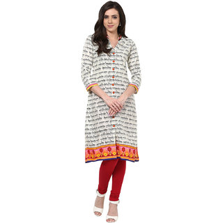 Prakhya Printed Womens Long Straight cotton kurta-SW660PINKBLACK