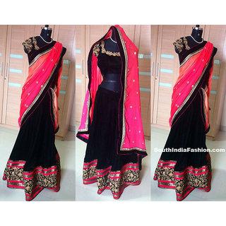 Navy Blue and Pink Net and Velvet Designer Lehenga Choli