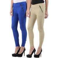 Westrobe Womens Plus Size Blue n Beige Jegging Combo of 2