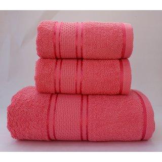 Homeway Cotton Bath Towel Set (1 Bath  2 Small Hand Towel Set, Peach)