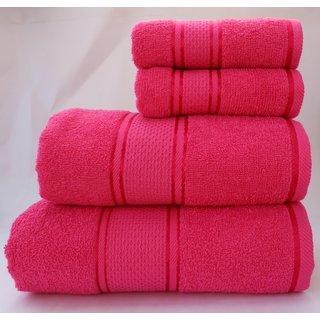 Homeway Cotton Bath Towel Set -1 Bath 1 Hand  2 Small Hand Towel Set, Pink