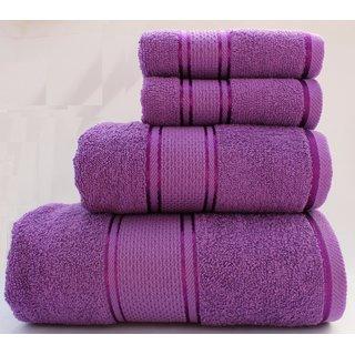Homeway Cotton Bath Towel Set (1 Bath 1 Hand  2 Small Hand Towel Set, Purple)