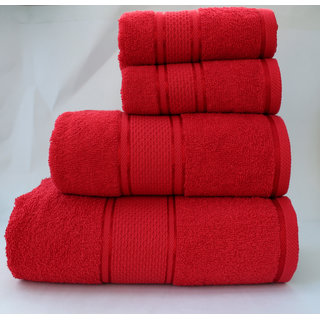 Homeway Cotton Bath Towel Set (1 Bath 1 Hand  2 Small Hand Towel Set, Red)