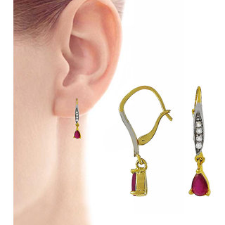 Miska Silver German Silver Pink Color Earrings With CZ, Ruby Stone Size-2.7 x 0.4 for Woman  GirlsGERCT16-1021-2