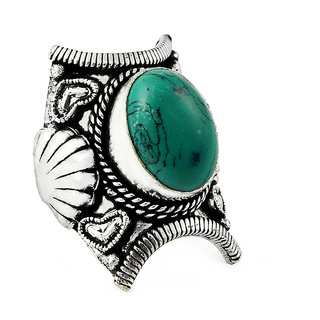 Miska Silver German Silver Blue Color Ring With Turquoise Stone Size-7.5 for Woman  GirlsGRNCB16-1021-17