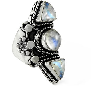 Miska Silver German Silver White Color Ring With  Moonstone Stone Size-6.5 for Woman  GirlsGRNCB16-1024-3
