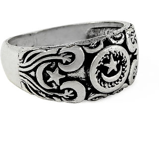 Miska Silver Plain German Silver Ring for Woman  Girls Size-8.5GRNPS16-1001-2