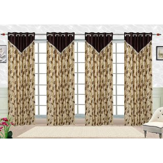 Comfort Zone Polycotton Brown And  Golden Printed Eyelet Door Curtains Set of 4
