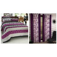 Home Castle Pack Of 3D Double Bedsheet + 2 Pillow Covers With Set Of 2 Door Curtains.