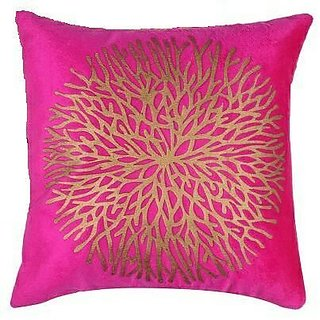 ShwetaInternational Pink Golden Cushion Covers (16X16 Inches) Set of 2