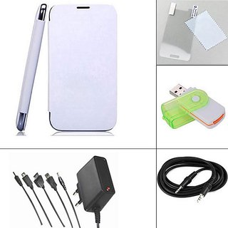 Aeroflots case cover for sony Xperia E  - White + Screen Guard + Aux Cable + Multi Card Reader + 5 in 1 Travel Charger