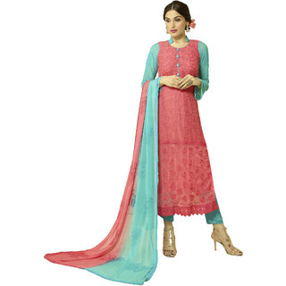 Khoobee Presents Embroidered Nazmeen Dress Material(Pink,Sky Blue)