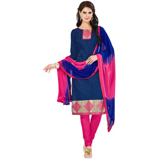 Khoobee Presents Embroidered Banarasi Dress Material(Navy Blue,Pink)