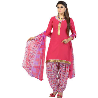 Khoobee Presents Satin Glaze Patiyala Unstitched Dress Material(Pink,White)