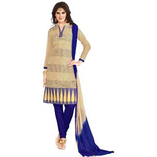 Khoobee Presents Embroidered Banarasi Dress Material(Beige,Dark Blue)