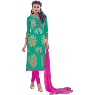 Khoobee Presents Embroidered Bhagalpuri Dress Material(Rama Green,Rani)