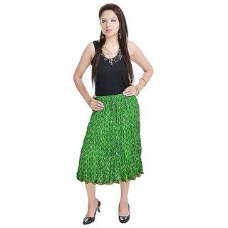 Rajasthani Ethnic Green Cotton Short Skirt