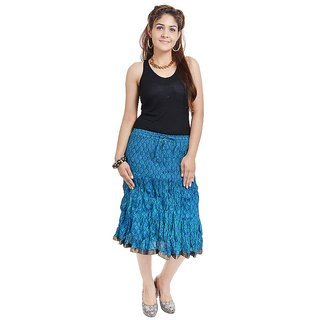 Rajasthani Blue Floral Short Skirt