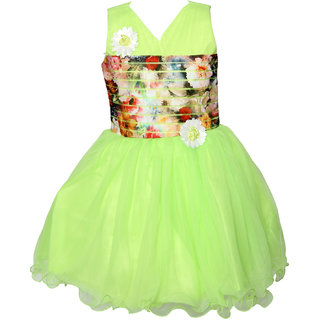 ChipChop Green Applique Net Dresses for Girls