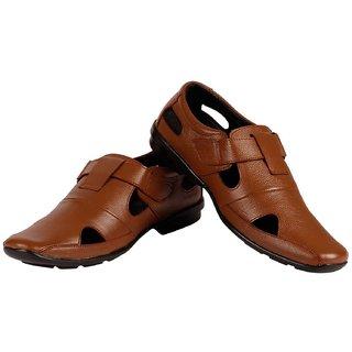 Mocas Mens Leather Sandals(Brown)