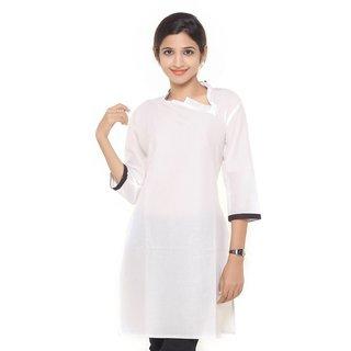 Women Ethnic Wear Cotton White Plain Kurti