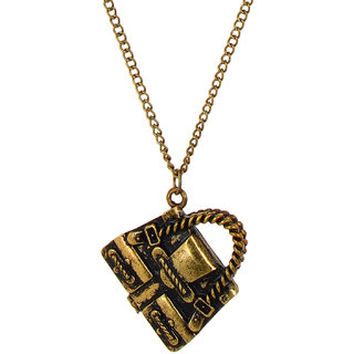 Fayon Daily Casual Work Antique Openable Bag Pendant  Necklace