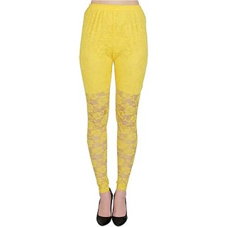 Womens Self Design Net Leggings (Yello)