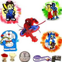 Set Of 5 Kids Rakhi Free Chocolate +Silver Plated Coin+Tika RAKHI GIFT HAMPER