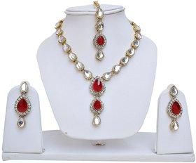 Lucky Jewellery Red Kundan Double Loucket Set (MSK-1-LINE2-RED)