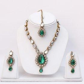 Lucky Jewellery 1-Line Green Colour Kundan Set (MSK-1-LINE-G)