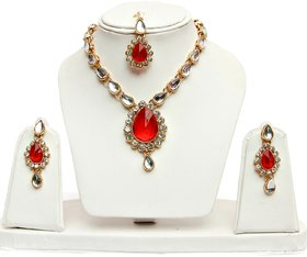 Lucky Jewellery 1-Line Red Colour Kundan Set (MSK-1-LINE-RED)
