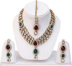 Lucky Jewellery 3 Line Kundan Set Maroon Green Colour (MSK-3-LINE-MG)