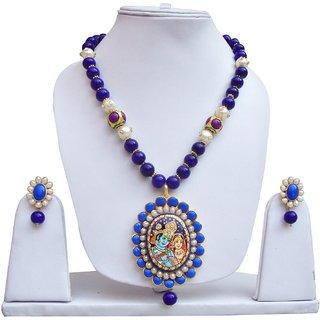 Lucky Jewellery Blue Radha Krishna Pendant Set (1470-AST1-853-B)