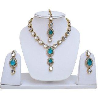 Lucky Jewellery Rama Green Kundan Double Loucket Set (MSK-1-LINE2-RAMA)