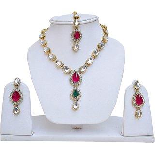 Lucky Jewellery Magenta Green Kundan Double Loucket Set (MSK-1-LINE2-RG)