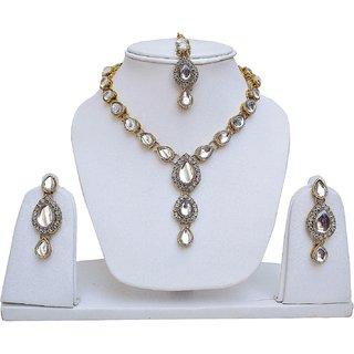 Lucky Jewellery White Kundan Double Loucket Set (MSK-1-LINE2-W)