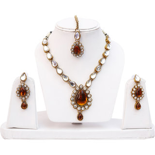 Lucky Jewellery 1-Line Copper Colour Kundan Set (MSK-1-LINE-C)