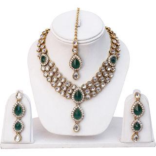 Lucky Jewellery 1-Line Green Colour Kundan Set (MSK-3-LINE-G)