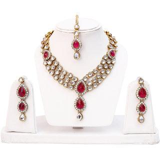 Lucky Jewellery 3 Line Kundan Set Magenta Colour (MSK-3-LINE-R)