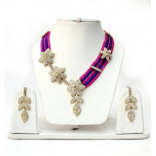 Lucky Jewellery Magenta Blue Crystal Set (TSC-292-RB)