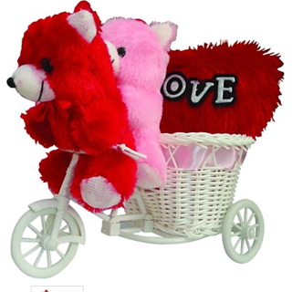 Gifts With a cute cycle and 2 small teddy with Musical Love Heart Decorative Gift set Valentine Gift Set