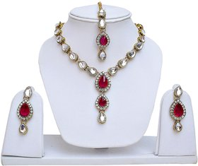 Lucky Jewellery Magenta Kundan Double Loucket Set (MSK-1-LINE2-R)