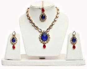 Lucky Jewellery 1-Line Magenta Blue Colour Kundan Set (MSK-1-LINE-RB)