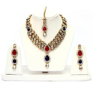 Lucky Jewellery 3 Line Kundan Set Red Blue Colour (MSK-3LINE-RED B)