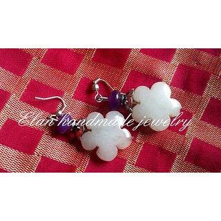 Pink n purple casual floral silver funky earring by Elan